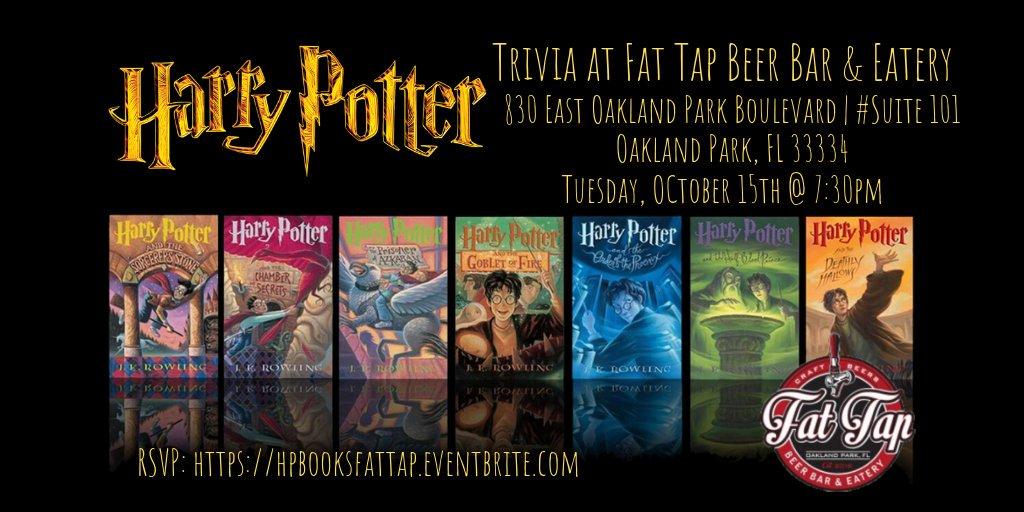 test Twitter Media - Harry Potter Books Trivia TONIGHT at 7:30pm! @fattapbeerbar RSVP: https://t.co/zLEexoHLh7 #fattapbeerbarandeatery #oaklandpark #harrypotter #harrypottertrivia #jkrowling #hogwarts #hermionegranger #ronweasley #gryffindor #triviatainment https://t.co/j1qTvAx5QS
