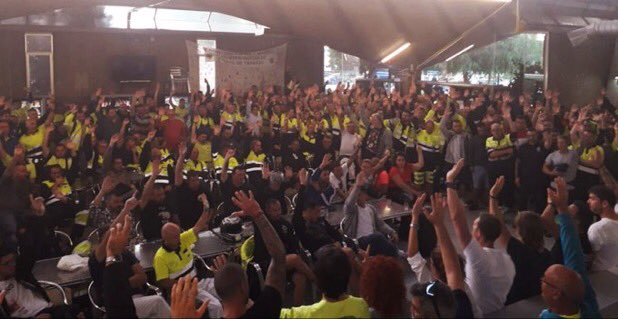 Barcelona's Harbor Workers Decide in Assembly to Join the Strike To Protest the #SpanishInquisition #SpainlsAFascistState https://t.co/o5mLQv01k0