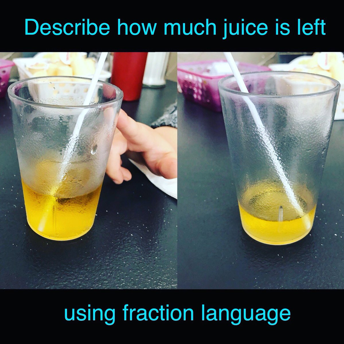 """test Twitter Media - Math at Brunch Out for brunch: table conversation centred around describing how much juice we had left & how much we had already drank using fractions.  When the 4yo was all done his juice, he exclaimed, """"I drank four fourths!"""" 😃 #everyonecanlearnmath #tmwyk https://t.co/sSaQ1JSSrP"""