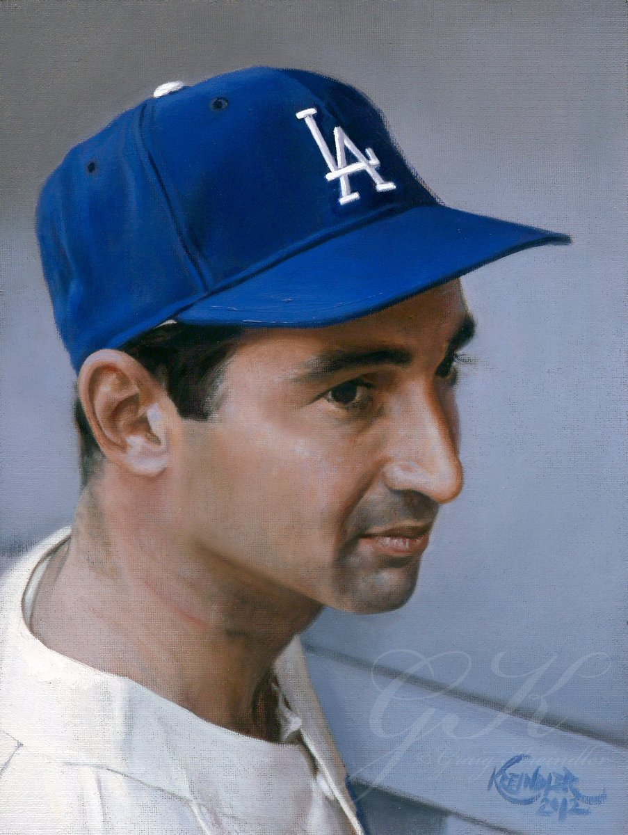 test Twitter Media - #OTD in 1965, @Dodgers southpaw Sandy Koufax declined to pitch the first game of the World Series against the Twins, which was scheduled on Yom Kippur. Here's a painting of the great man from that same season. https://t.co/TuFEopyeEk