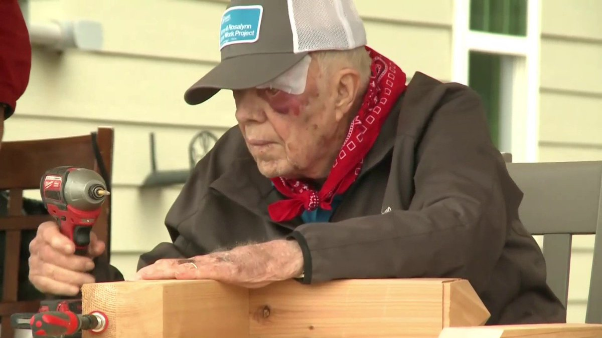 WATCH: Former President Carter, the oldest living former president in US history, helps lead a build of Habitat for Humanity homes in Nashville one day after falling at his home and receiving stitches above his eye.