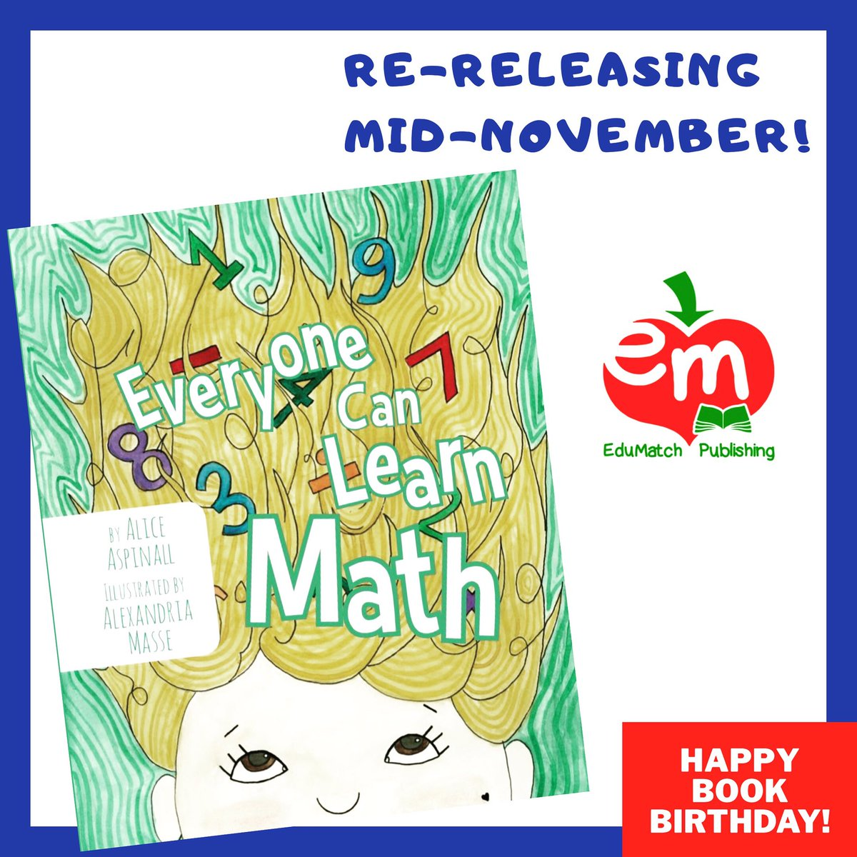 """test Twitter Media - Happy 1 Year Birthday to Everyone Can Learn Math!! One year ago, Everyone Can Learn Math was released - a beautiful picture book about Amy, who thinks she's not a """"math person."""" 1/n https://t.co/rR3pB0sQjl"""