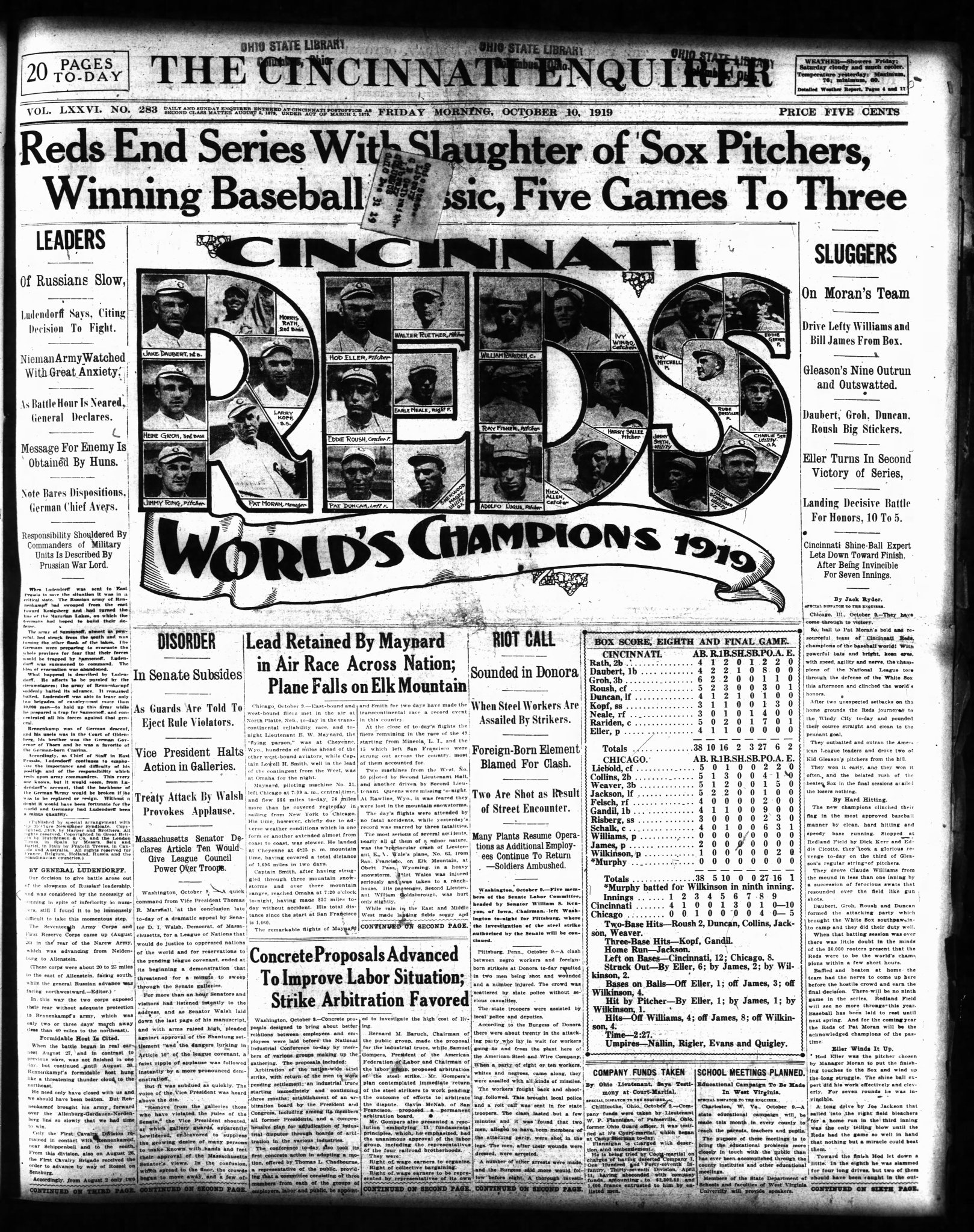 "#OTD 100 years ago at Comiskey Park, the Cincinnati Reds are World Champs trouncing Chicago White Sox 10-5 to win 1919 World Series (best of 9) in 8 games. Soon cries of ""the fix is in!"" would turn the baseball world upside down and result in lifetime bans for 8 White Sox players https://t.co/9QhnWb7wXy"