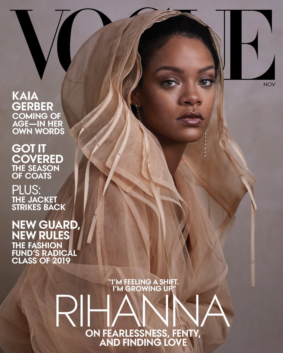 So proud to be on another cover of @voguemagazine wearing my own designs from @FentyOfficial !!! On stands October 16th!  Photographer: @ethjgreen  Fashion Editor: Tonne Goodman  Hair: @yusefhairnyc Makeup: Kanako Takase  https://t.co/ARYg5Fmufj https://t.co/LU9TEe1NEh
