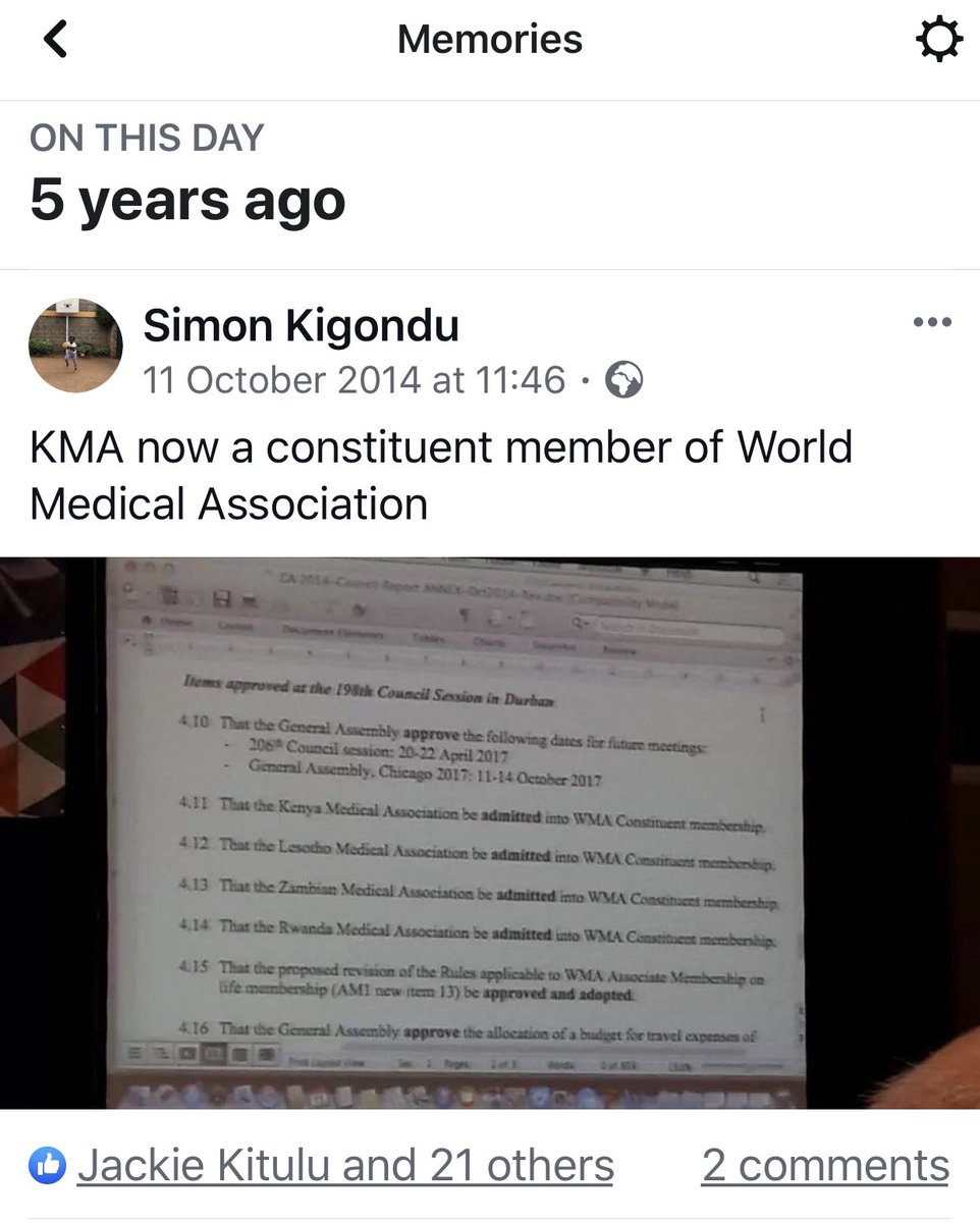 It's been 5 years since @KenyaMedics_KMA was admitted as a constituent member of @medwma   @KenyaMedics_KMA is represented in 3 @medwma committees by @mdjkitulu @SupaTunje & @LukoyeAtwoli   KMA President @mdjkitulu will be in Tbilisi Oct 21-7 @simonkigondu @lizzgitau @JKARAMANA