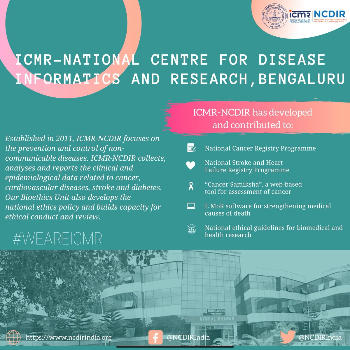 test Twitter Media - ICMR-NCDIR collects, analyses and reports data on non-communicable diseases like cancer and diabetes. To know more about us, visit https://t.co/Xzm91GA8GZ. #WeAreICMR @NCDIRIndia @MoHFW_INDIA @DeptHealthRes @GoI_MeitY #CancerResearch #diabetes https://t.co/YsdRjWsWZB