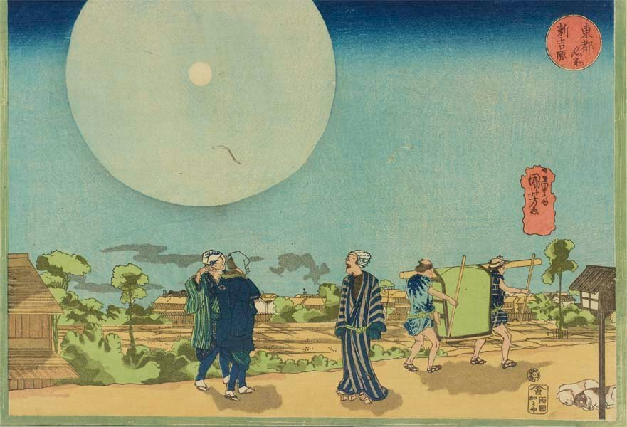 test ツイッターメディア - 明日10/14(月)の夜は満月。そこで、満月の周りに大きな光の輪ができた「月暈」という現象を描いた浮世絵をご紹介。武者絵でブレイクした歌川国芳は、北斎の「冨嶽三十六景」がヒットしていたのと同時期、風景画を集中的に手掛けました。太田記念美術館にて10/27まで開催の「歌川国芳」展にて展示中。 https://t.co/j17DfYfMoO