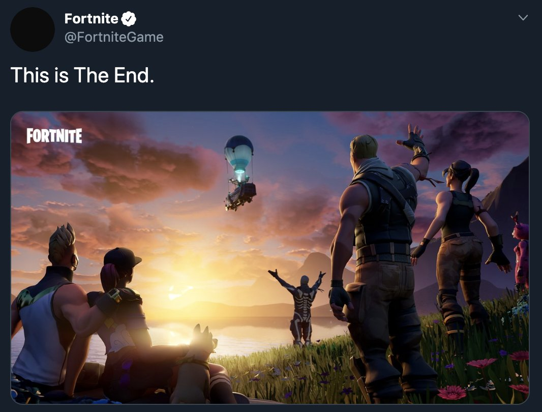 test Twitter Media - Fortnite's season 10 ends with something no one expected...the game's temporary? shutdown. Here's what we know so far: https://t.co/X4mOAA8m0l https://t.co/DiRH7tWCvR