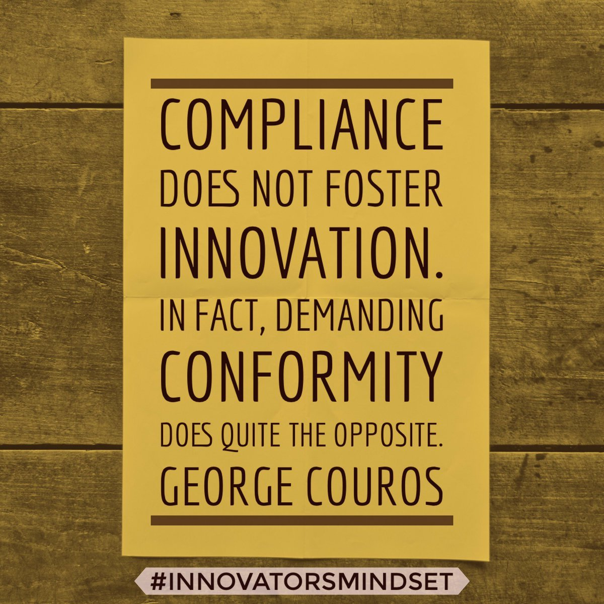 Compliance eats innovation for breakfast. So, what are you doing to prevent conformity from dominating your school? #EdChat https://t.co/zuq7lPl9Q0