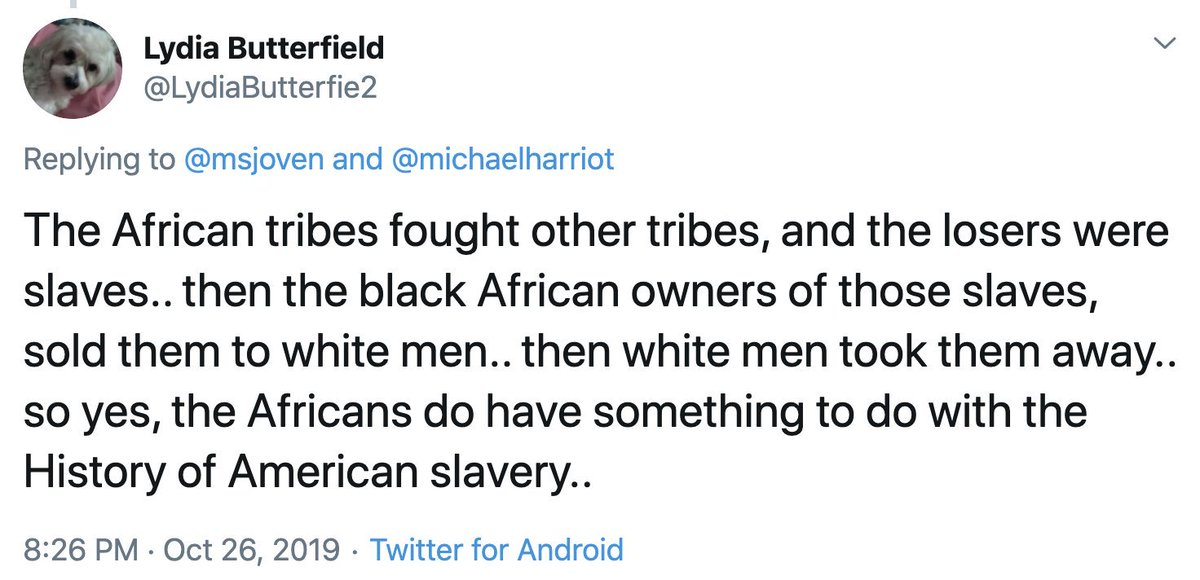 Thread:  Whenever anyone mentions slavery or the atrocities of the past, 3 arguments are always brought up. Let's eliminate them once and for all:   The first is the most popular:  It's not white people's fault because Africans sold other Africans.   People LOVE this argument.