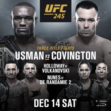 test Twitter Media - #UFC245 is coming to @TMobileArena on Dec. 14 with three huge title fights, and you can get tickets BEFORE they go on sale to the public. Take advantage of this exclusive offer using the code VEGAS, beginning Thursday at 10am PT: https://t.co/Sa3MWzDMR4 https://t.co/9khN2zrj3W