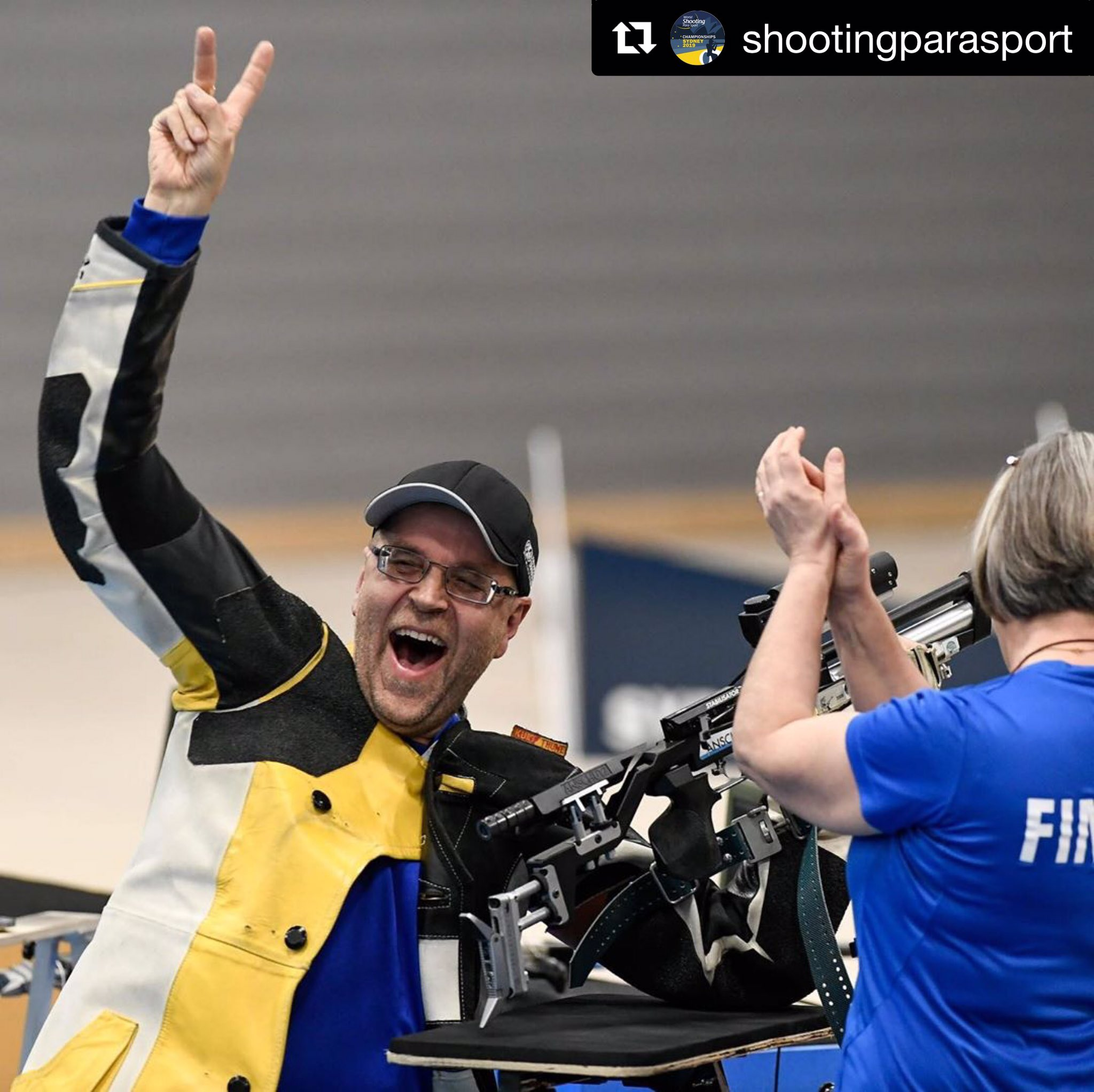 History in Sydney!🥇   Timo Nystrom 🇫🇮 wins gold in the first ever vision impaired event at the #ShootingParaSport World Championships!  📸: Narelle Spangher   @ShootingPara https://t.co/e05vkJ1LBp