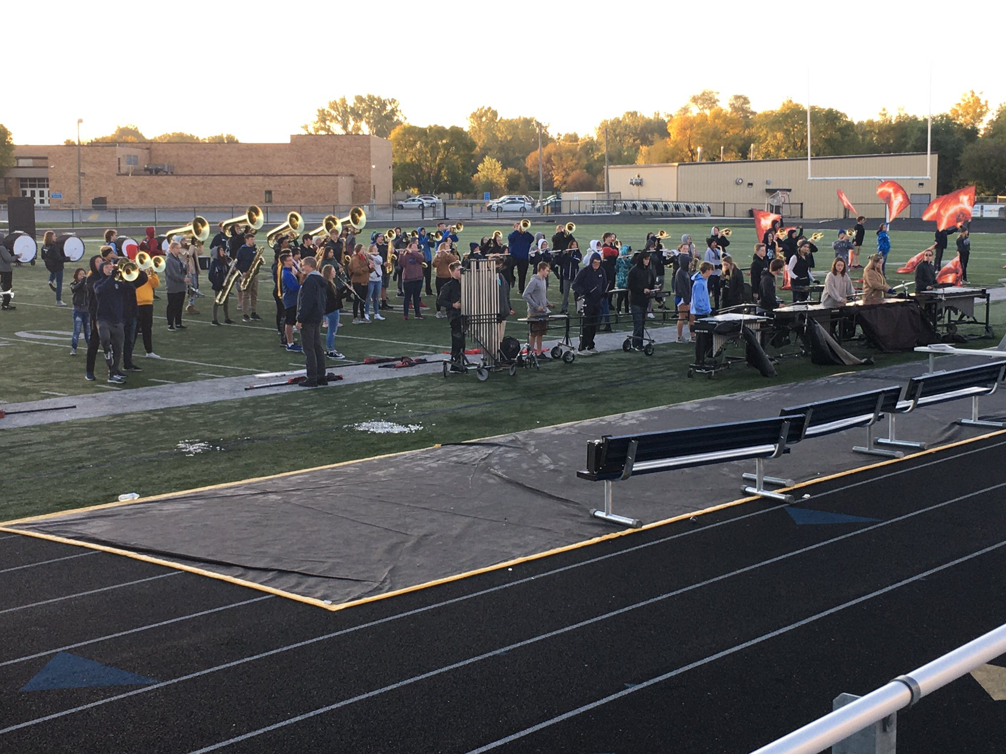 The @LCHSBands sounding good this morning at the Titan Marching Band Rehearsal. Their hard work has paid off as they have enjoyed much success at competitions including a 1st Place win last weekend! Way to go Titan Bands! #InspiringExcellenceLC @LCHSPrincipals @LewisCentralCSD https://t.co/0Pit3XHoLo