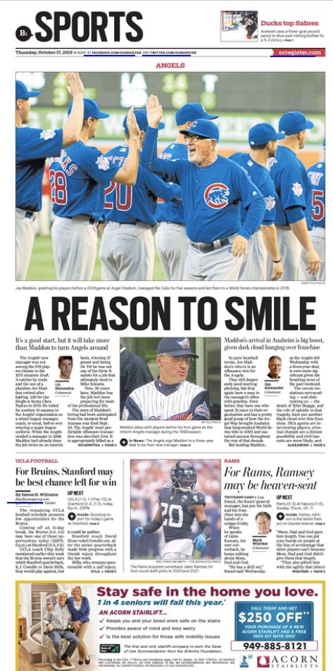 It's the top story of the whole paper and in sports. https://t.co/IDgrnuSL0c