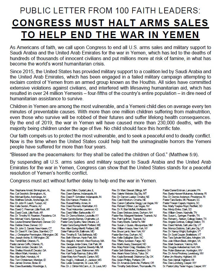 NEW: Faith leaders from all 50 states are calling for an end to U.S. arms sales & military support for the Saudi/UAE coalition in #Yemen. We've introduced bills & amdts on arms sales & banning refueling assistance, but the situation is only get worse. We must act. #YemenCantWait https://t.co/Y1qjeQwFkq