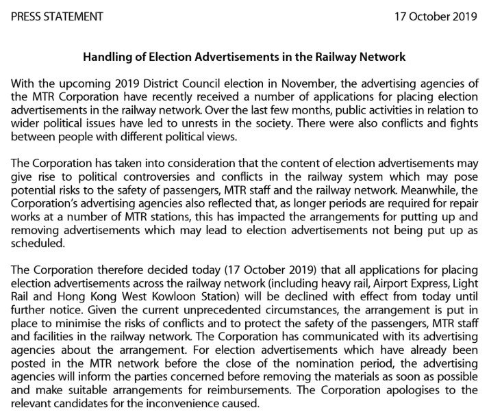 "#HongKong's MTR Corporation says that all applications for placing election advertisements across the railway network ""will be declined with effect.""  #hongkong #hongkongprotests #antiELAB #china https://t.co/sKX23iluqw"