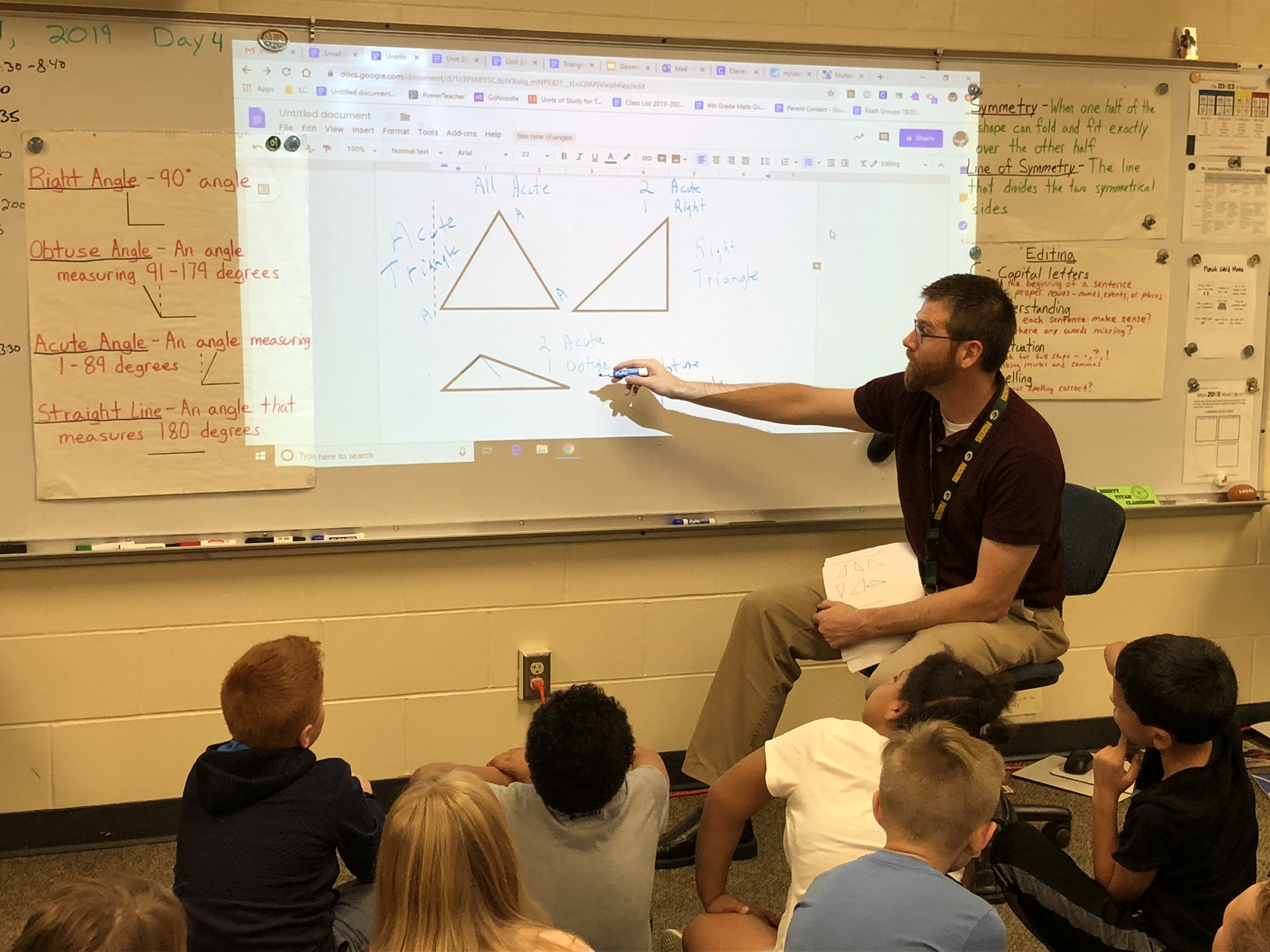 Mr. Schechinger's 4th graders classifying triangles.  Direct instruction followed by partner practice.  Class ended with a game of jeopardy to review content. #inspiringexcellenceLC #LCTitanHilll https://t.co/gDqU0XSRWz