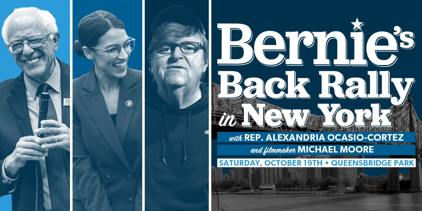 """I am joining Alexandria Ocasio-Cortez tomorrow to officially & publicly endorse a true hero of the people, Senator Bernie Sanders, as our next President of the United States! I will speak tomorrow for him at his """"Bernie Is Back!"""" rally at 1pm in Queensbridge Park in NYC. Join us! https://t.co/H1vm87rEi8"""