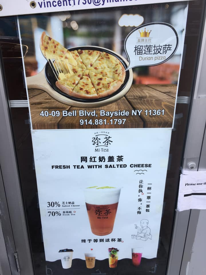 "test Twitter Media - Durian pizza: Last month we had ""Explosion Cheese Durian Pie"" (9/23/19).  Now we have durian pizza, courtesy of Jeffrey L. Schwartz, who posted this photo of an advertisement for Mi Tea on Bell Blvd. in Bayside, Queens…  Wash your durian pizza down with… https://t.co/UDDuHKzQyQ https://t.co/C3MNUiYHOs"