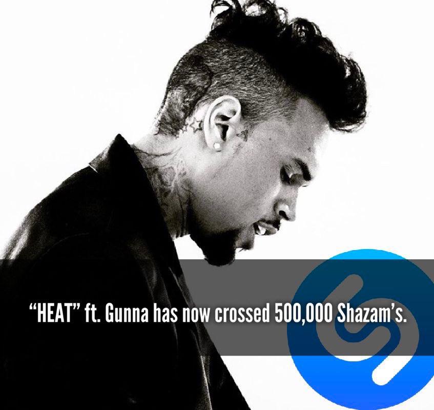 "Chris Brown's hit single ""Heat"" ft. Gunna has now surpassed 500,000 Shazam's on @Shazam ! 🔥"