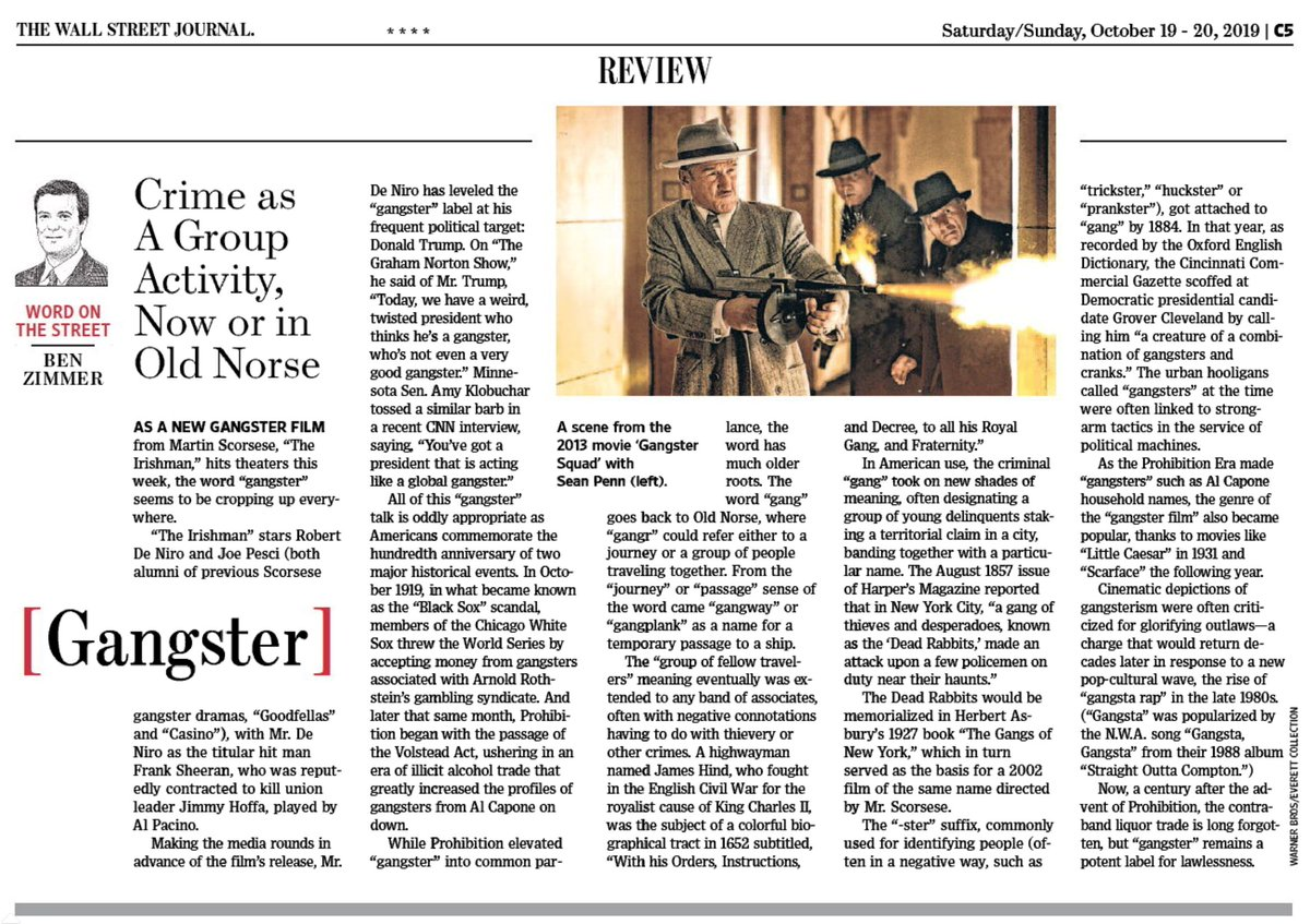 "test Twitter Media - In this weekend's @WSJ Review section: the crime-ridden history of the word ""gangster,"" from Old Norse to modern cinematic and political uses. https://t.co/kJ2NpuZFXW https://t.co/CRvsgx3f93"