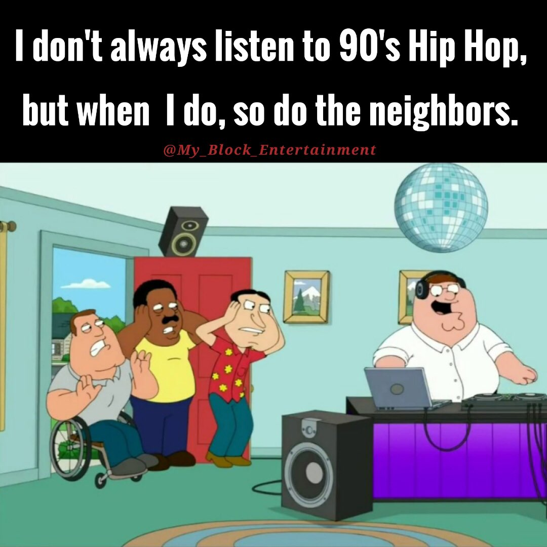 Tag someone who likes to listen to their music loud! 🤣 What's  your favorite track to turn up? #FamilyGuy #LoudMusic #TurnItUp #MusicMood #90sHipHop #90sHipHopJunkie #HipHopClassic #RealHipHop #HipHopLove #HipHopStateOfMind #HipHopRap #HipHopParty #DJLife #IndependentRecordLabel https://t.co/z2Be029LnF