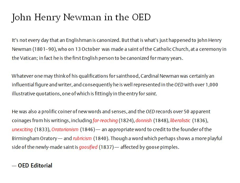test Twitter Media - On 13th October, Cardinal John Henry Newman became the first English person to be canonized by the Catholic Church in nearly 50 years.  To mark his new sainthood, here is a short piece on John Henry Newman and his contribution to the OED: https://t.co/Gyuv9mWo4S