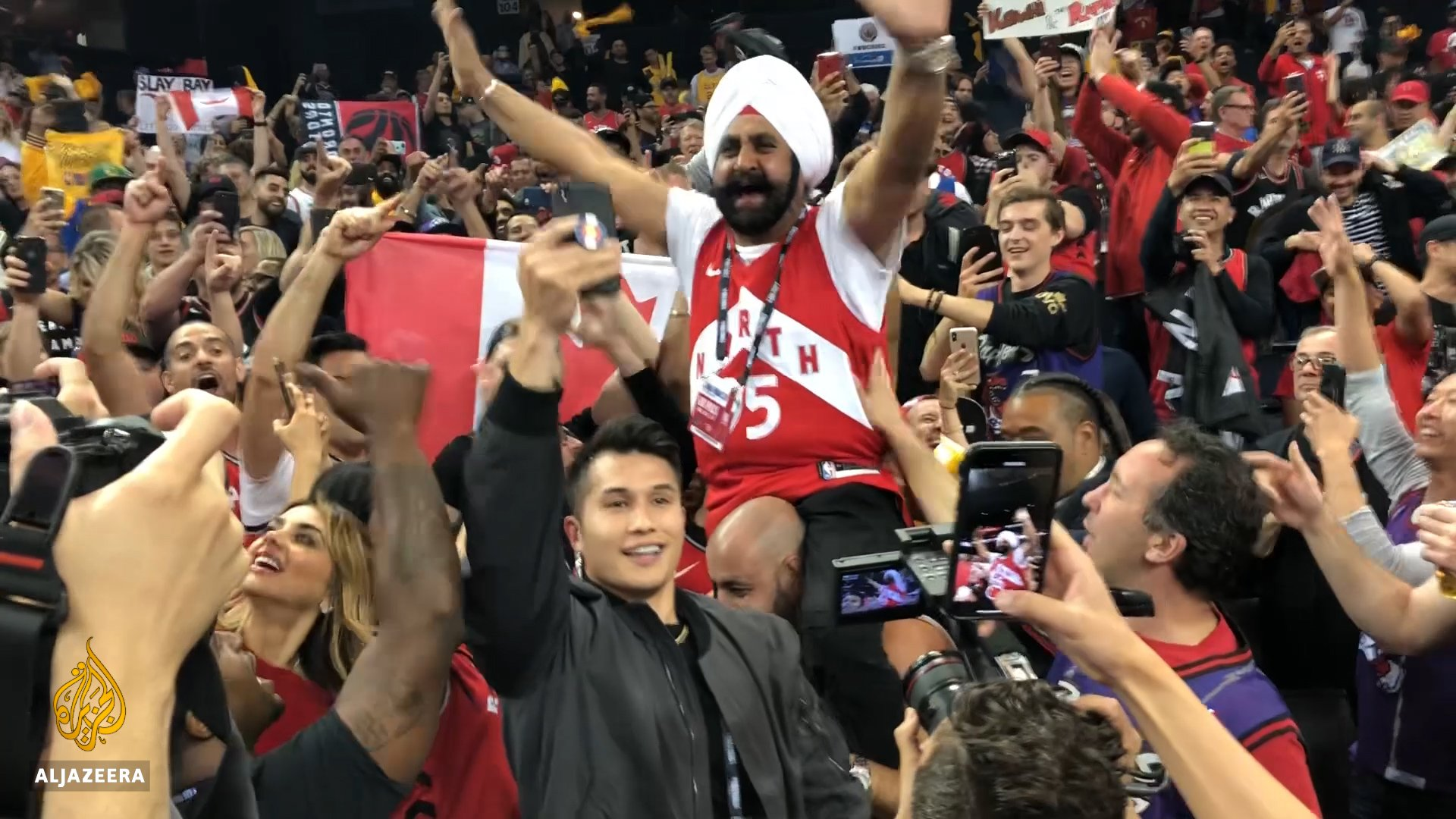 We met @Raptors Superfan @superfan_nav last year after his team became NBA champs.   He's now one of the first fans to be honoured by basketball's Hall of Fame. https://t.co/oX00Zual1E