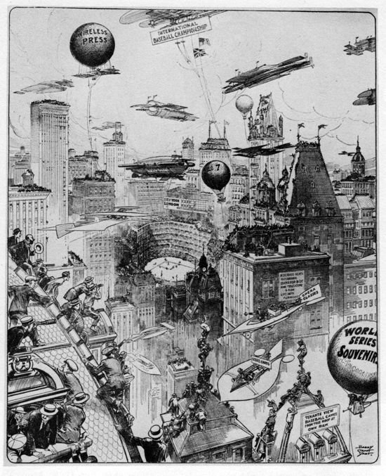 Harry Grant Dart 1912 illustration of what World Series might look like in future, on the scoreboard you can see New York is playing London, you see bleachers on rooftop of a building like they did at Shibe Park, a wireless press and a ballpark that is heavy on the luxury suites https://t.co/u4vDjfvJ7R