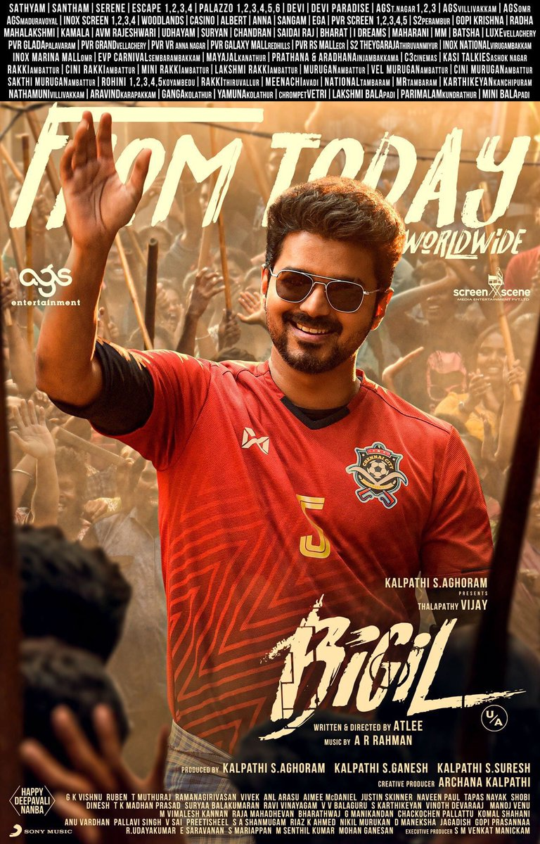 #BigilDiwali   Wish you all the best to whole team... Have a  grand success 😍👍💐  #Thalapathy @actorvijay sir @arrahman sir @NayantharaU @Atlee_dir @am _Kathir @archanakalpathi @AntonyLRuben     @Ags_production @Actress_Indhuja & Thalapathy Fan's