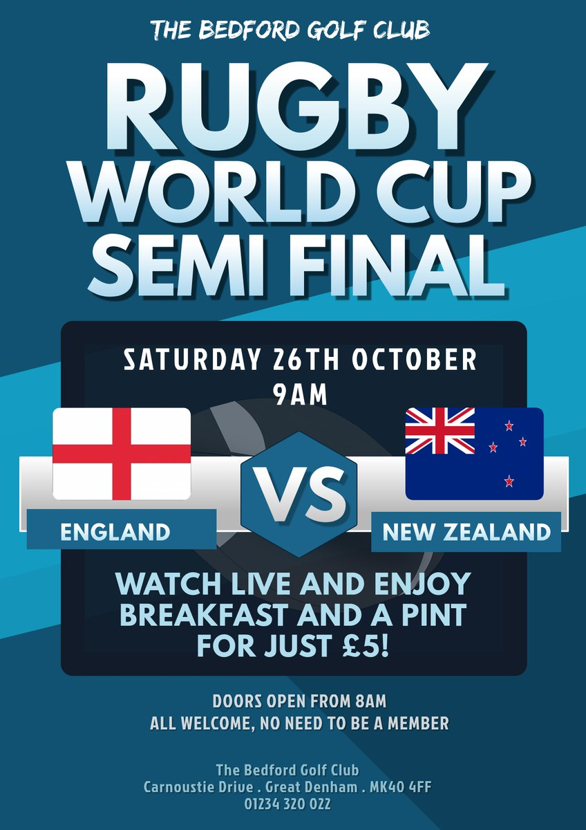 test Twitter Media - Join us tomorrow morning in the bar to watch the Rugby World Cup Semi Final, England V New Zealand!!  We will be serving breakfast from 8am and offering breakfast and a pint for just £5!  It's going to be a great atmosphere and you don't have to be a member.  SEE YOU THERE! https://t.co/P5Vab684cA