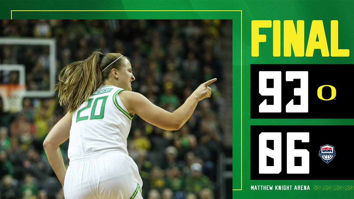 DUCKS WIN!!!  No. 1 Oregon becomes just the second college team EVER to defeat @usabasketball and the first since 1999!  #GoDucks