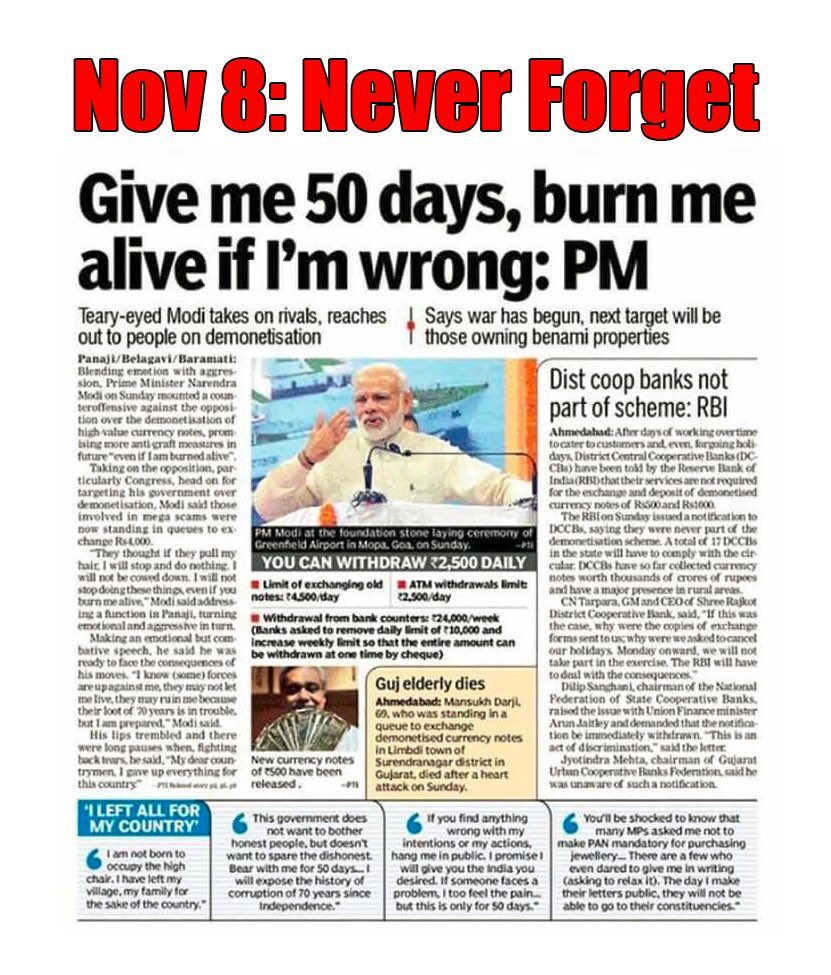 It's 3 yrs since the Demonetisation terror attack that devastated the Indian economy, taking many lives, wiping out lakhs of small businesses & leaving millions of Indians unemployed.   Those behind this vicious attack have yet to be brought to justice.   #DeMonetisationDisaster