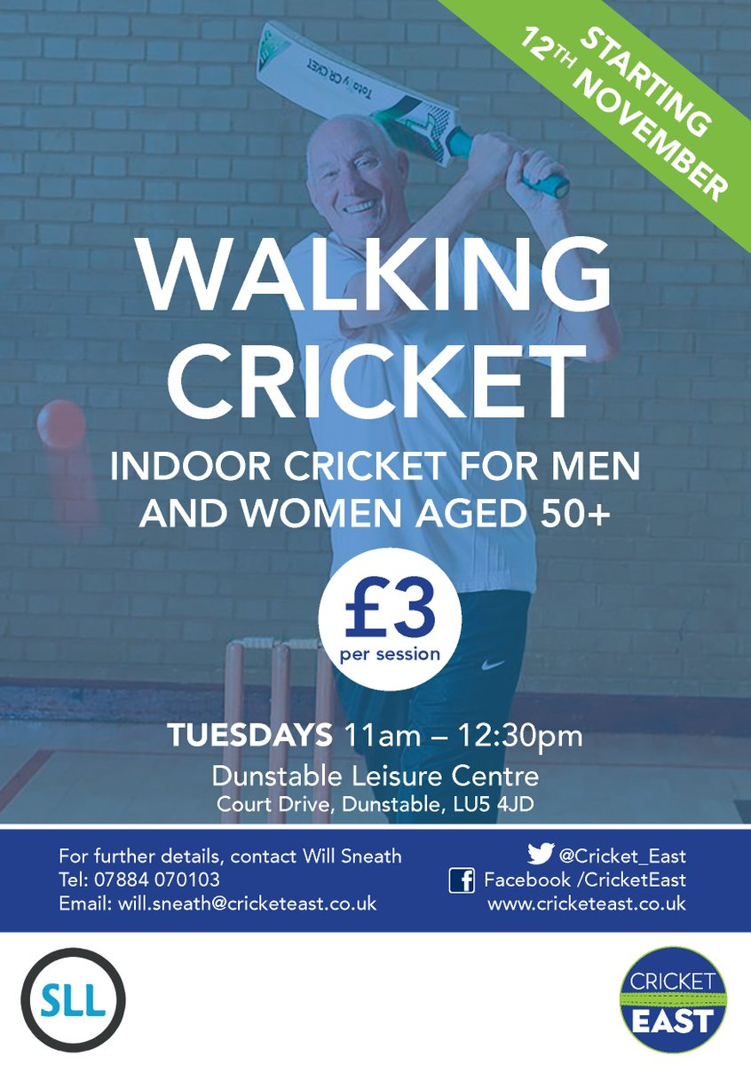 RT @teamBEDS: Are you over 50+ and would you like to try indoor walking cricket?  Cost: £3 per session  When: Tuesday's 11am – 12:30pm  Where: Dunstable Leisure Centre, Court Drive, Dunstable. LU5 4JD  For further details, contact will.sneath@cricketeast.co.uk #activebedfordshire @cricketeast