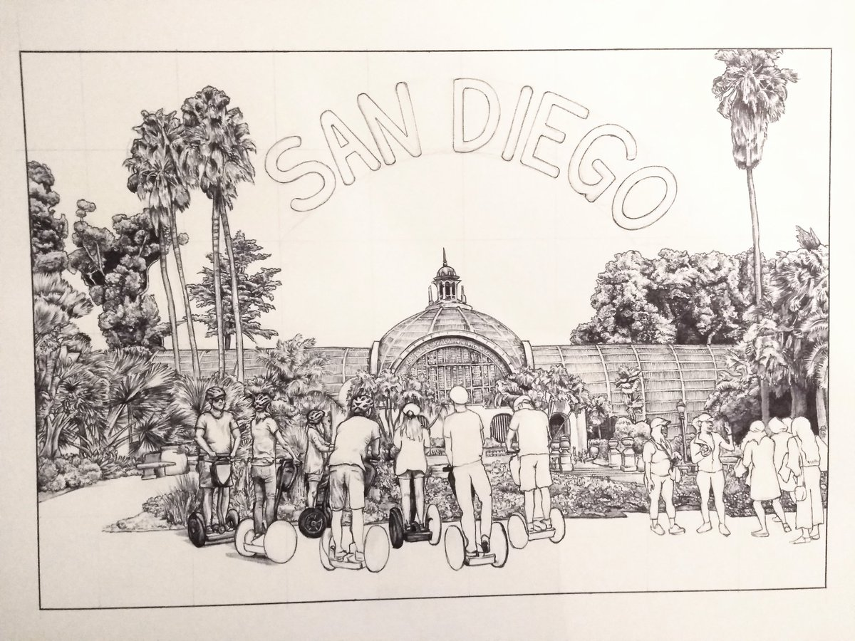 test Twitter Media - Drawing sunny San Diego on a rainy British Autumn Saturday. #ballpoint #drawing #sandiego https://t.co/sgz434i2r3