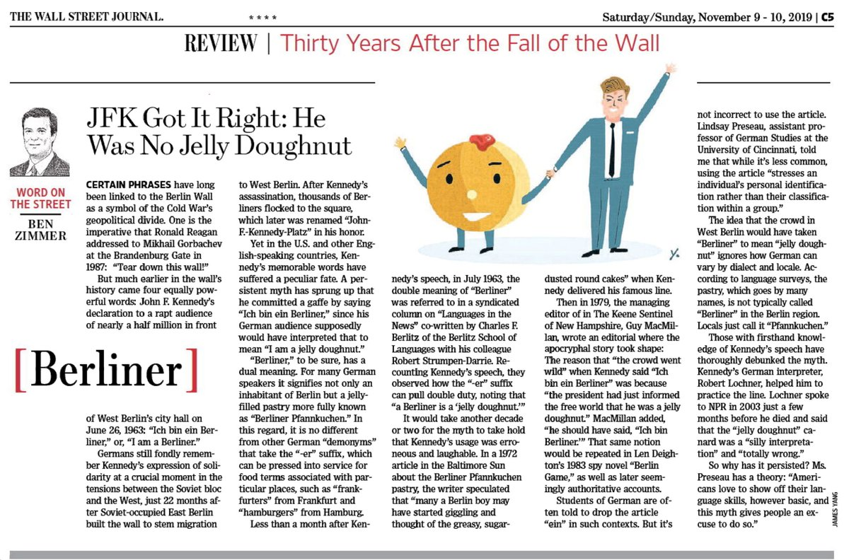 "test Twitter Media - In this weekend's @WSJ Review section, which commemorates the 30th anniversary of the fall of the Berlin Wall, I look at JFK's famous line, ""Ich bin ein Berliner,"" and the ""jelly doughnut"" myth that sprung up afterwards.  https://t.co/atzZvgqbgX https://t.co/9nvjgy0VOE"