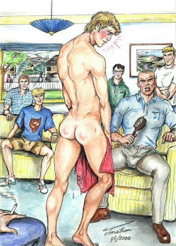Spanked in front of the family  Artist: Jonathan  #bara #yaoi #gaycomics #gayartist #gayslave #gaypuppy #analsex #assplay #bdsm #gayillustrations #gaydrawings #gayporn #malebooty #bigbubblebutt #spanking