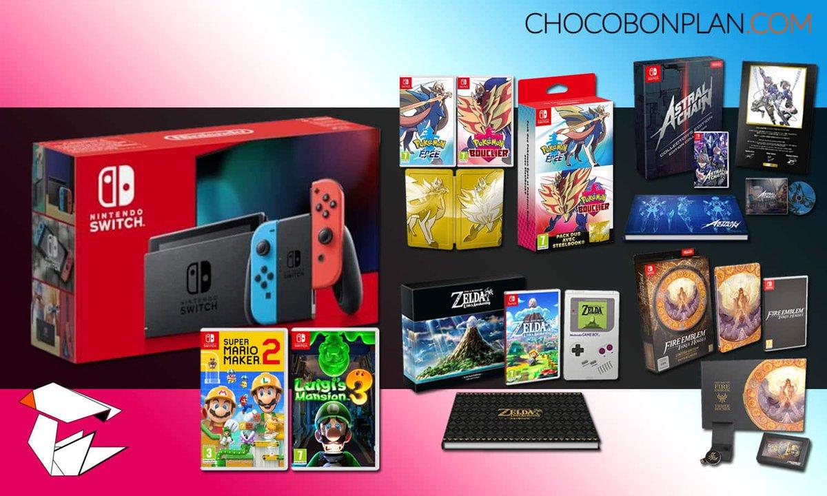 #CONCOURS🎁 1 Megapack Switch + 6 jeux à gagner !  Pour participer : Suivre  @ChocoBonPlan  + RT ce Tweet  + commenter avec le #chocobonplan  Contient : - la Switch - 3 Collectors (Zelda, FE, Astral Chain) - Pokémon Double Pack - Luigi's Mansion 3 - Mario Maker 2  Tirage : 19/11