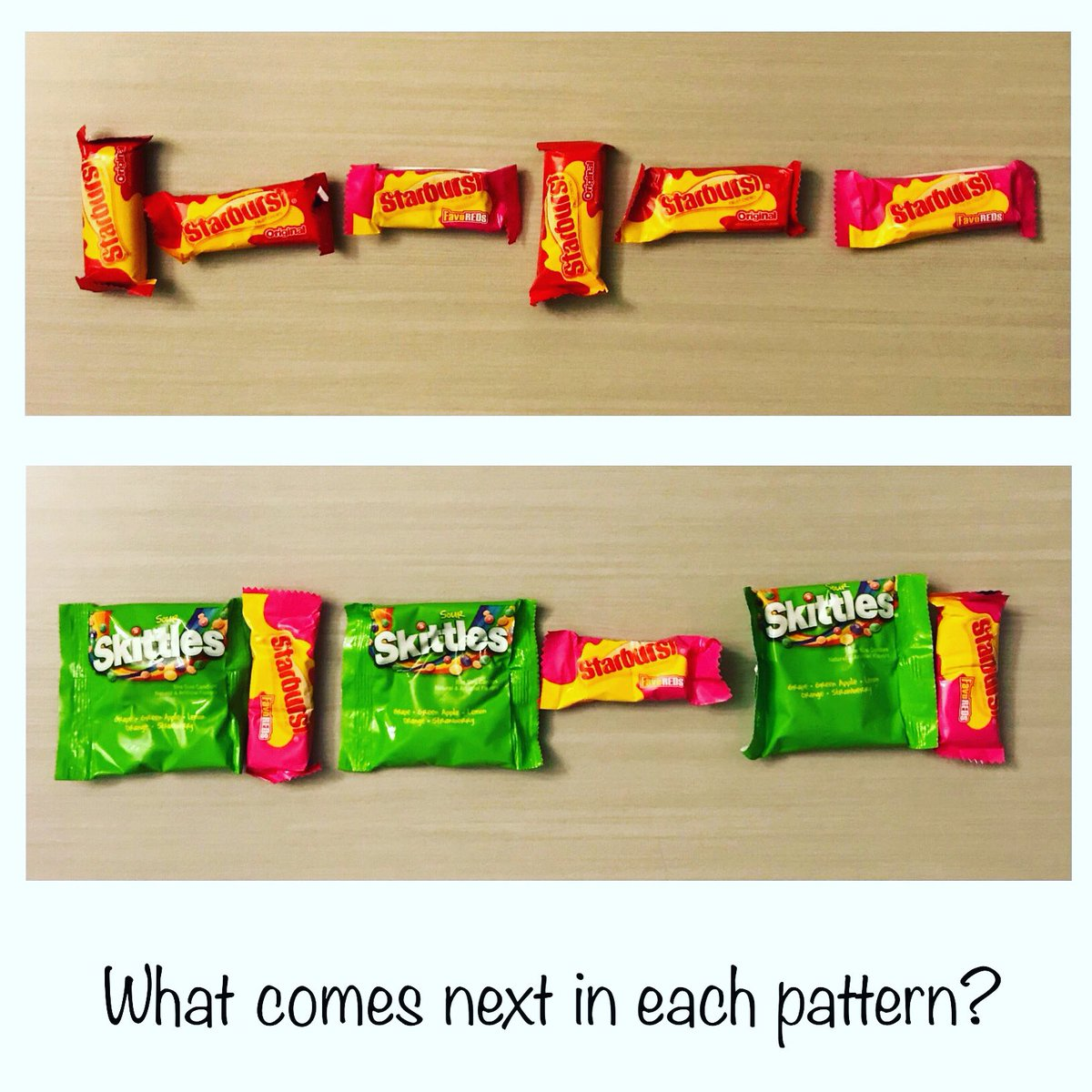 test Twitter Media - We did some candy patterns. Kids can create their own and take turns filling in the next steps in the pattern.  The idea is courtesy of @countingwithkids. Check out her other amazing ideas for doing math with your kids! #everyonecanlearnmath #tmwyk https://t.co/SicNE1csoW