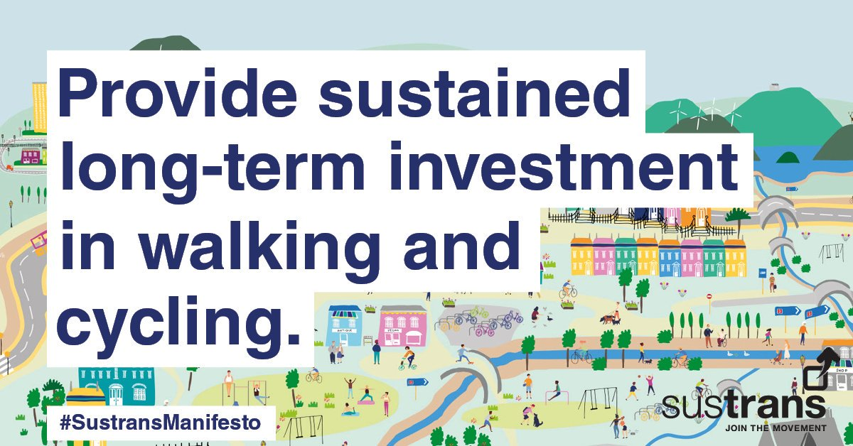 test Twitter Media - .#SustransManifesto for all political parties launches today. We have five main asks: invest in #walking & #cycling; 20-minute neighbourhoods; roll out School Zones; make walking & cycling accessible to all; establish a Greenways programme #GE2019 https://t.co/z8Xo5wKgn5 https://t.co/25Tg1YuoE5