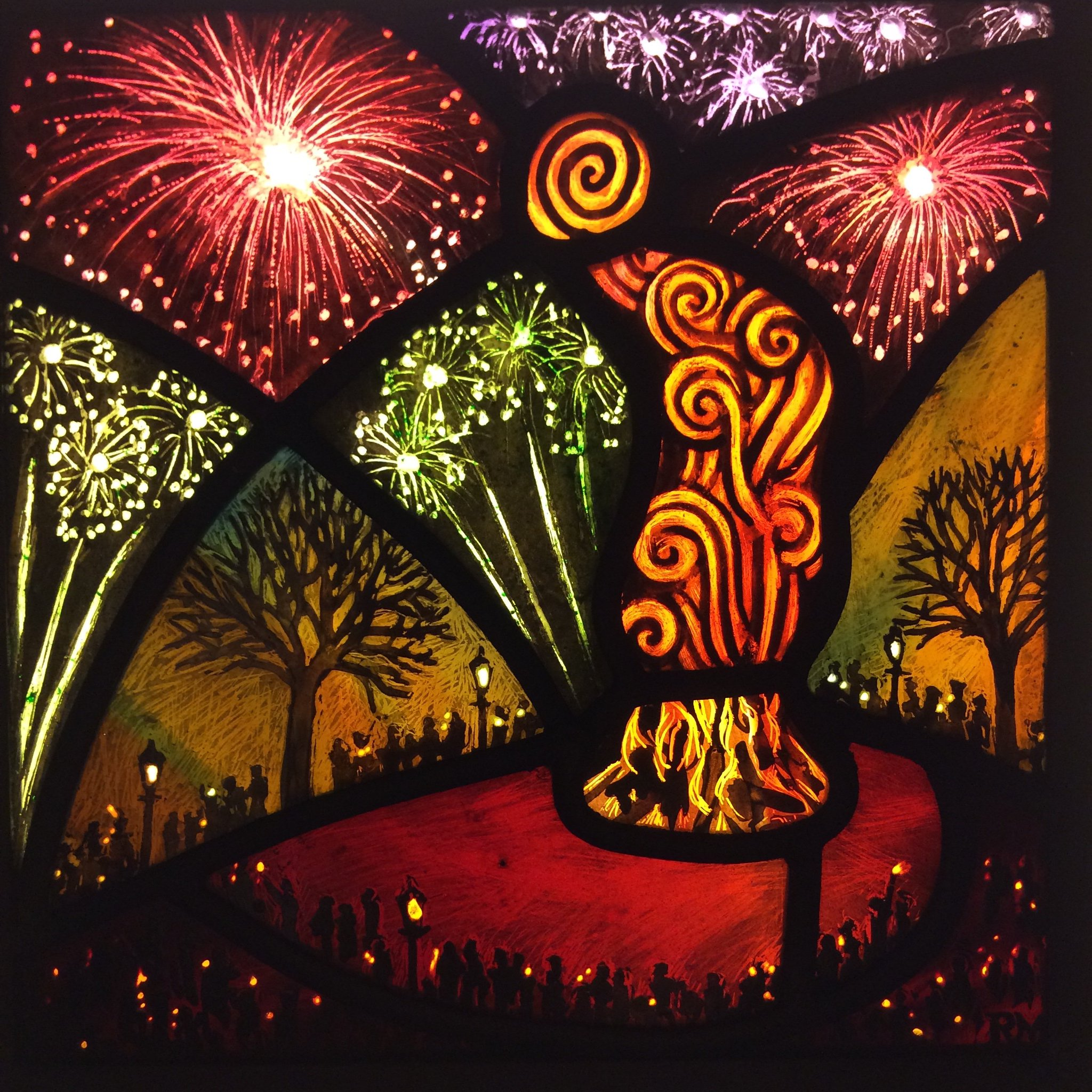 Rachel Mulligan @RMStainedGlass Another chance to see this small panel inspired by Bonfire Nights on Primrose Hill back in the day. #BonfireNight @BSMGP @InPrimroseHill @_Primrose_Hill #bonfirenight2019 https://t.co/TY02N7xJhY