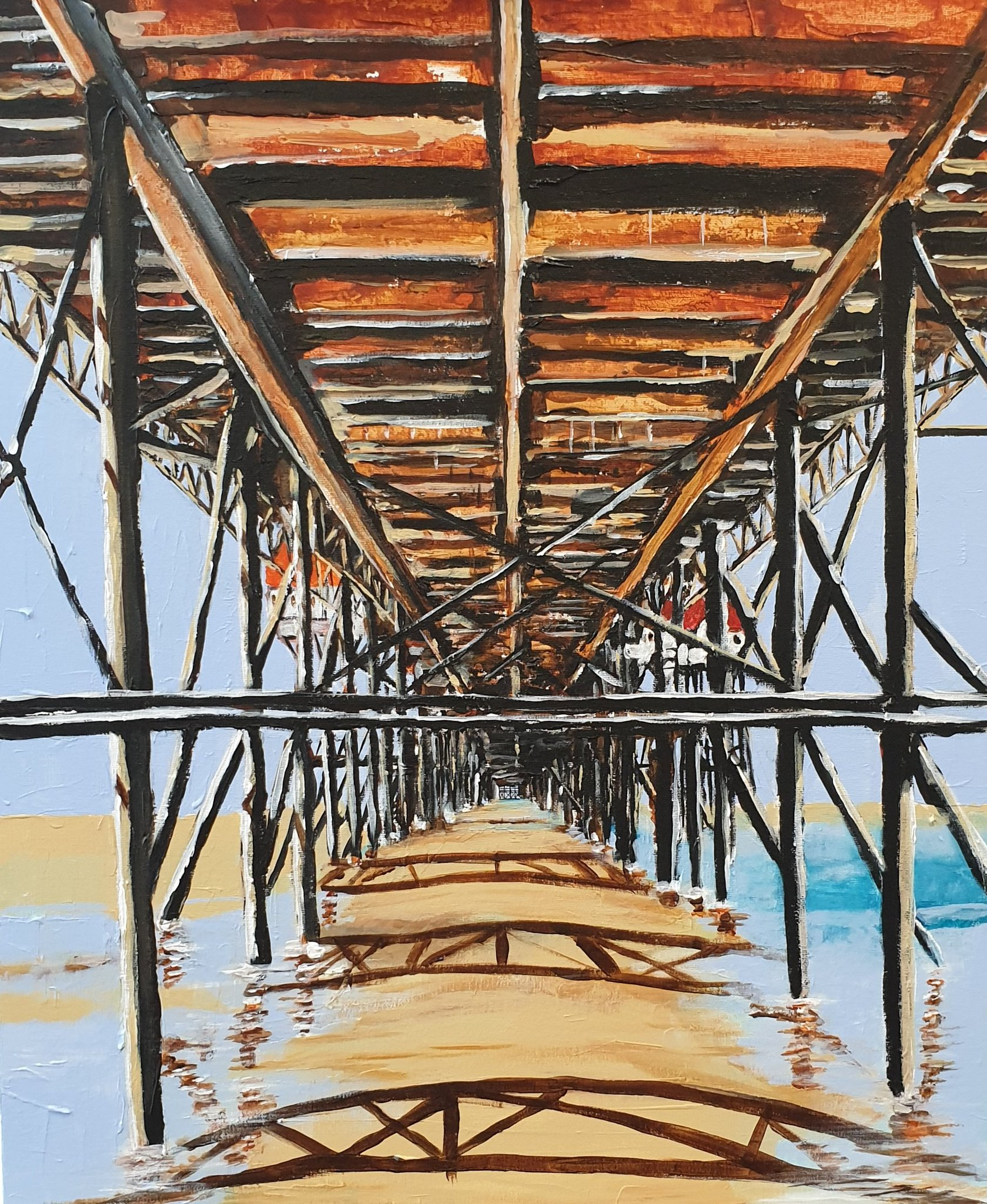 Under the North Pier. Acrylic painting. @visitBlackpool @BpoolCouncil https://t.co/zuaVR49lFp