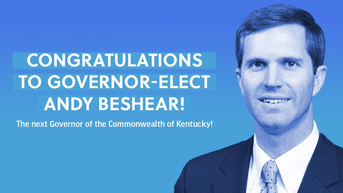 Congratulations to Governor-Elect @AndyBeshearKY for his hard-fought victory tonight! His victory proves that strong Democrats running smart campaigns can win anywhere. #KYGov