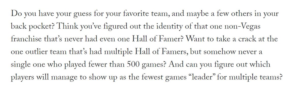 New post: Which Hockey Hall-of-Famer played the fewest games for your favorite team? It's a question that can takes us to some interesting places.
