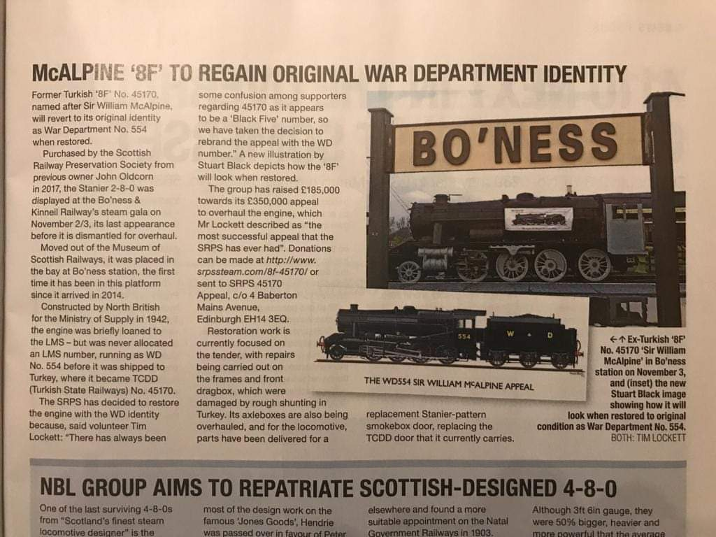 test Twitter Media - Fantastic to see an article about @45170appeal WD554 in the latest edition of Steam Railway magazine.  Please keep the donations coming as every penny helps to return 'Sir William McAlpine' to steam! @bonessrailway  https://t.co/rujVLmFehE  ^JS https://t.co/pRAHeEAXam