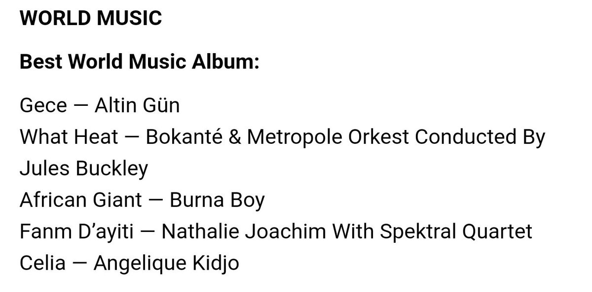Burna boy's African Giant has been nominated for  Grammy awards  Best World Music Album   A king I Stan ❤