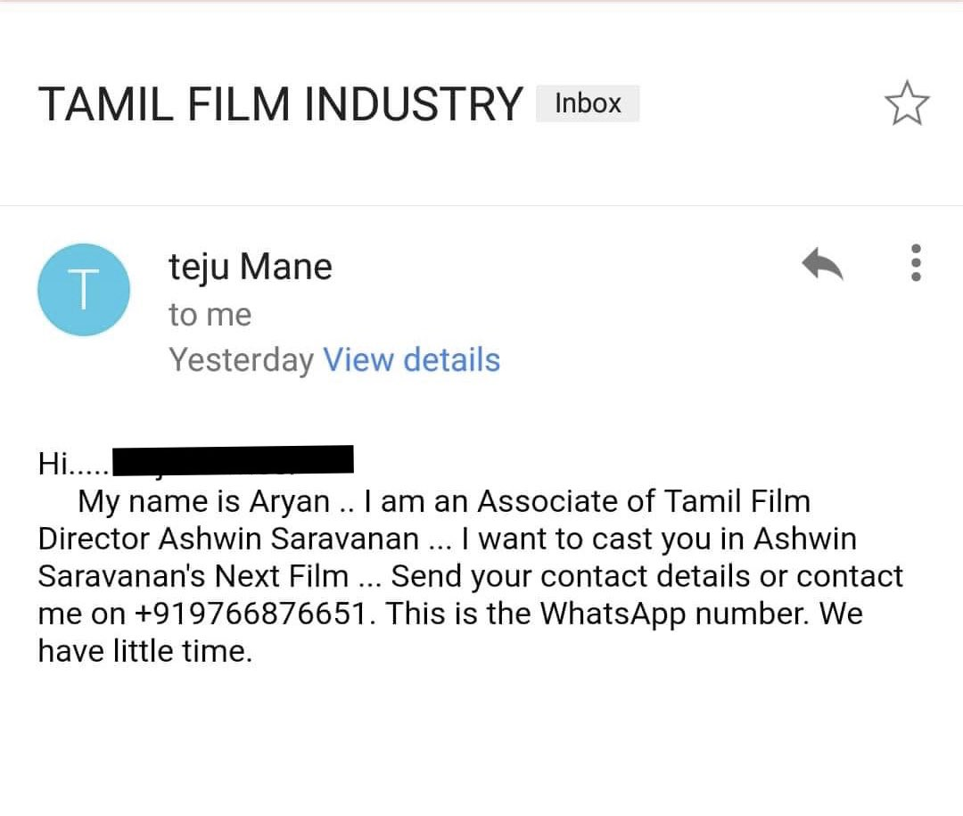 """This casting call is as FAKE as the name """"teju Mane""""  I have no associates by the name of Aryan.   If at all I'm casting for my film, you will hear it through a  production company.   Thanks to the artist who forwarded me this. #CastingScam"""