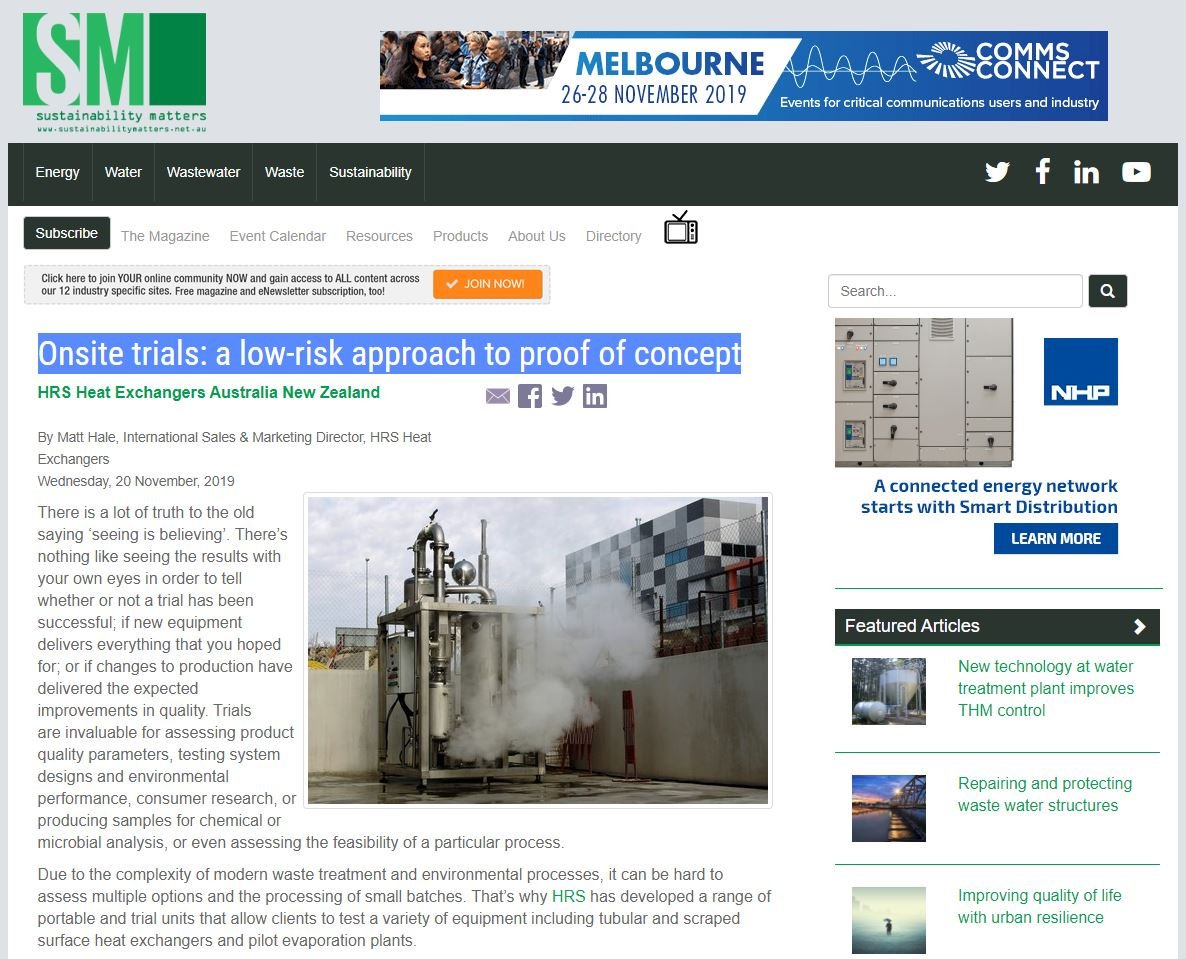 """test Twitter Media - There's nothing like seeing the results with your own eyes in order to tell whether or not a trial has been successful. Read more on """"Onsite trials: a low-risk approach to proof of concept"""" https://t.co/rwa71cElFo as featured @Sustain_Matters. #trialunits #heatexchangers https://t.co/5D7DyJ0Efu"""
