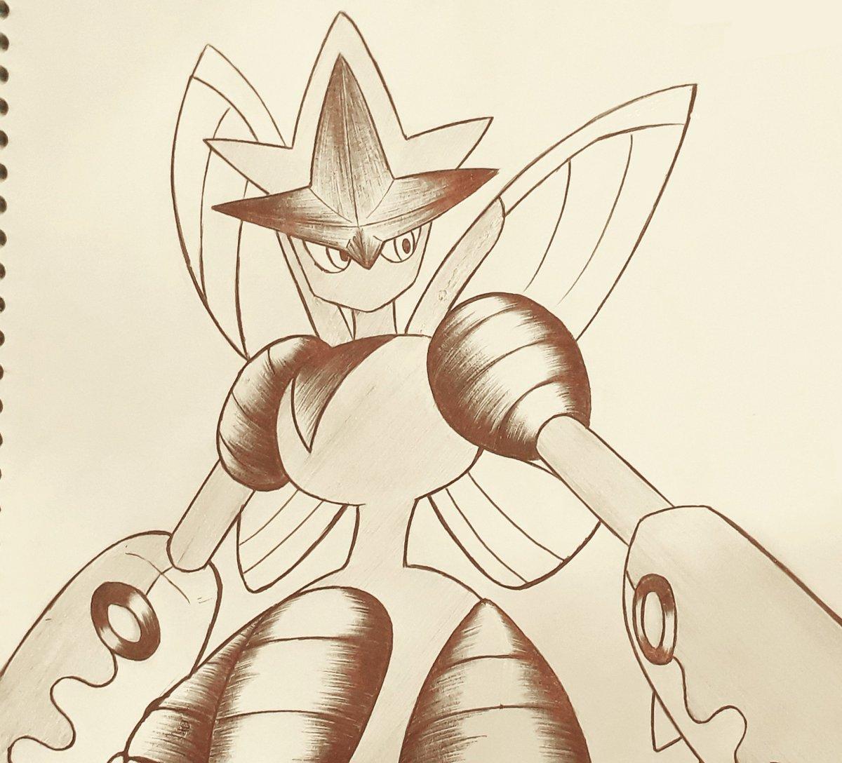 9- Favorite Mega-evolution: Mega Scizor!  #Inktober #pokemon #poketober