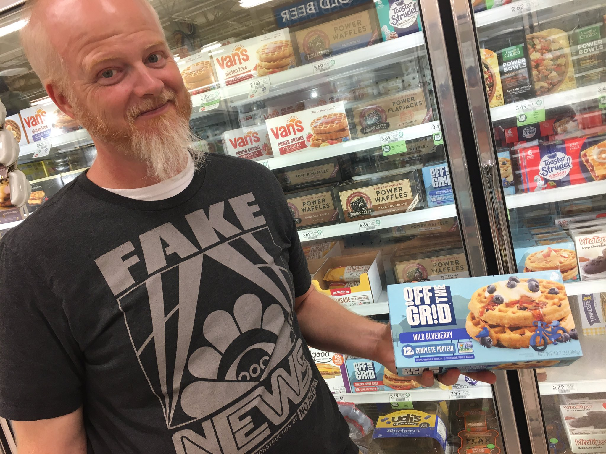 #FakeNews dude-named-Ben at Publix wonders if we should get these #OTG waffles. #NoAgenda #ITM @adamcurry @NoAgendaShop He tried to take a picture but his iPhone 5s died because he had too many tracking apps on it. https://t.co/vmk3H4mpXN